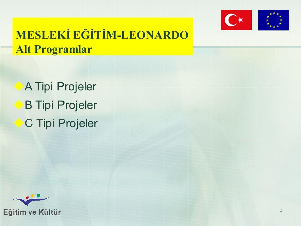 Eğitim ve Kültür 4 MESLEKİ EĞİTİM-LEONARDO Alt Programlar  A Tipi Projeler  B Tipi Projeler  C Tipi Projeler