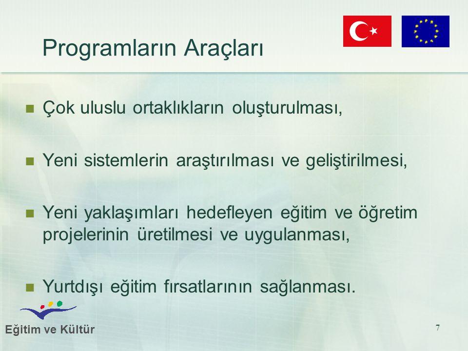 Eğitim ve Kültür 7 Programların Araçları Çok uluslu ortaklıkların oluşturulması, Yeni sistemlerin araştırılması ve geliştirilmesi, Yeni yaklaşımları hedefleyen eğitim ve öğretim projelerinin üretilmesi ve uygulanması, Yurtdışı eğitim fırsatlarının sağlanması.