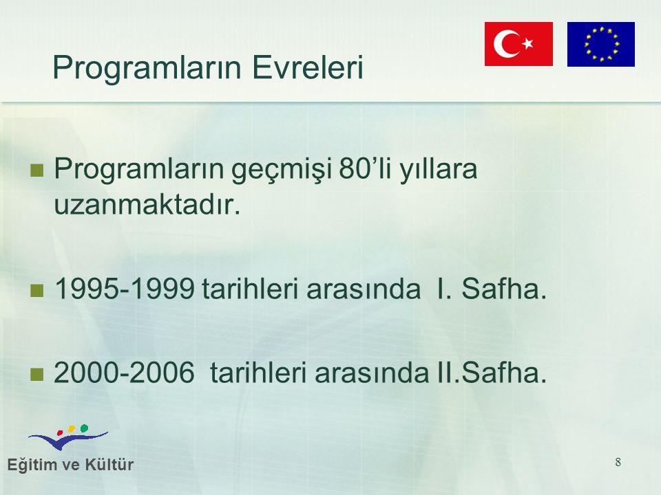 Eğitim ve Kültür 8 Programların Evreleri Programların geçmişi 80'li yıllara uzanmaktadır. 1995-1999 tarihleri arasında I. Safha. 2000-2006 tarihleri a