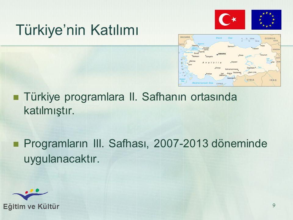 Eğitim ve Kültür 9 Türkiye'nin Katılımı Türkiye programlara II. Safhanın ortasında katılmıştır. Programların III. Safhası, 2007-2013 döneminde uygulan