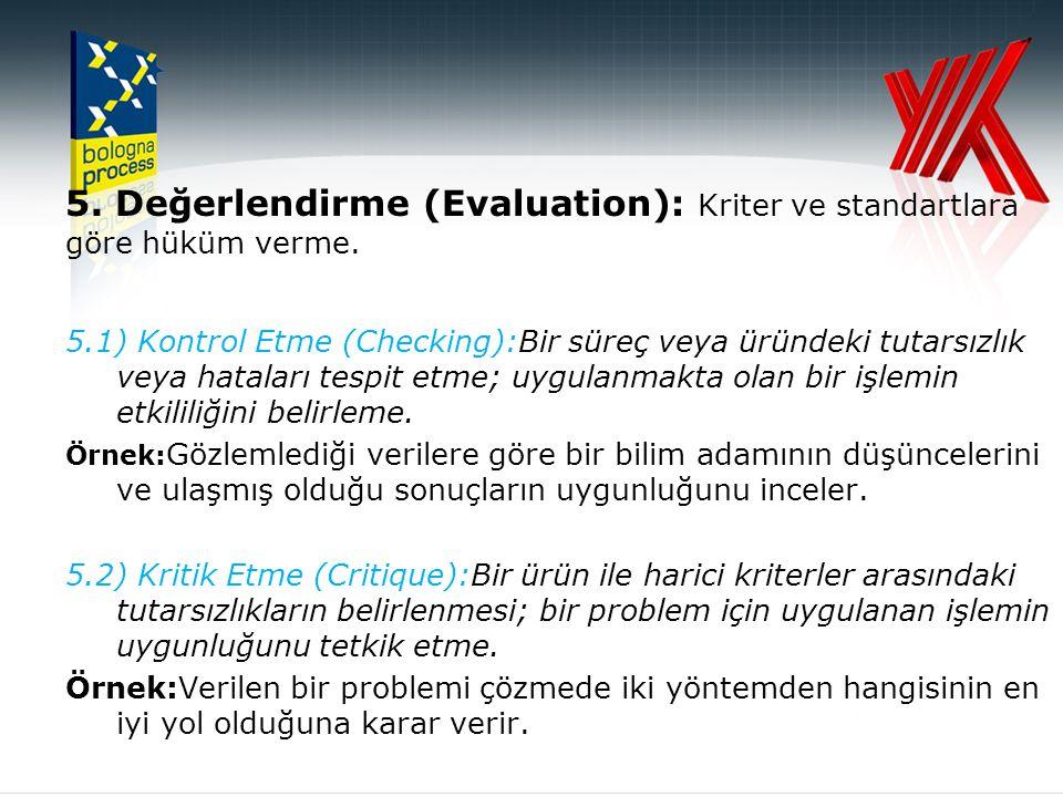 5. Değerlendirme (Evaluation): Kriter ve standartlara göre hüküm verme.