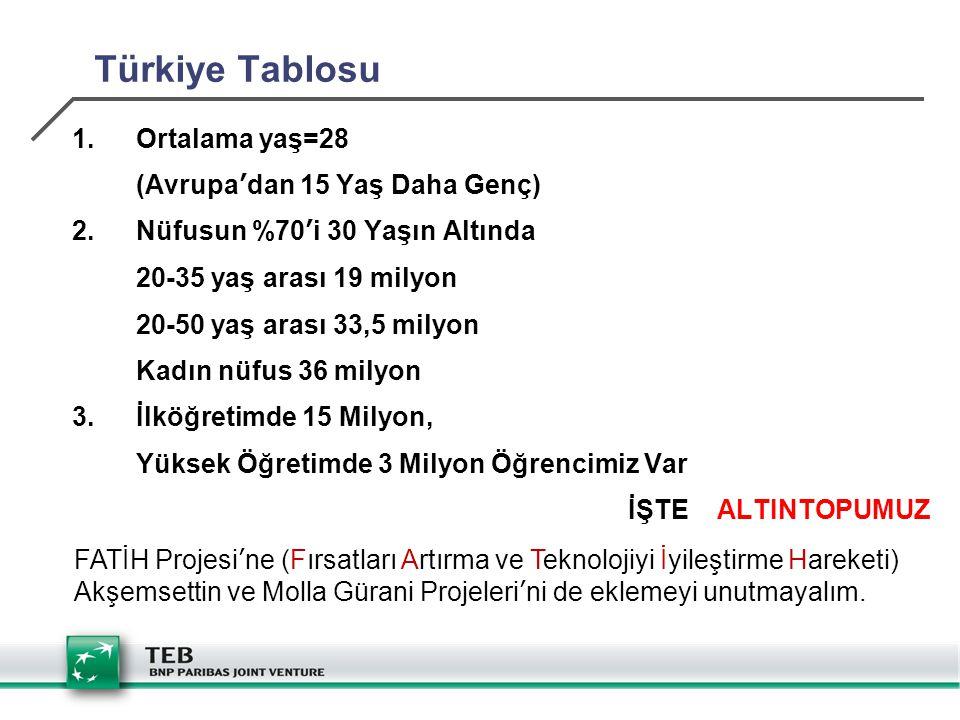 Türkiye Tablosu 1.Ortalama yaş=28 (Avrupa'dan 15 Yaş Daha Genç) 2.Nüfusun %70'i 30 Yaşın Altında 20-35 yaş arası 19 milyon 20-50 yaş arası 33,5 milyon