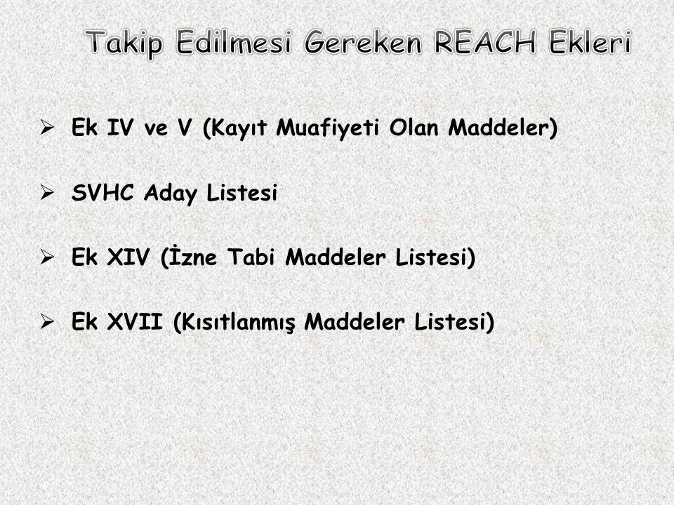  Ek IV ve V (Kayıt Muafiyeti Olan Maddeler)  SVHC Aday Listesi  Ek XIV (İzne Tabi Maddeler Listesi)  Ek XVII (Kısıtlanmış Maddeler Listesi)