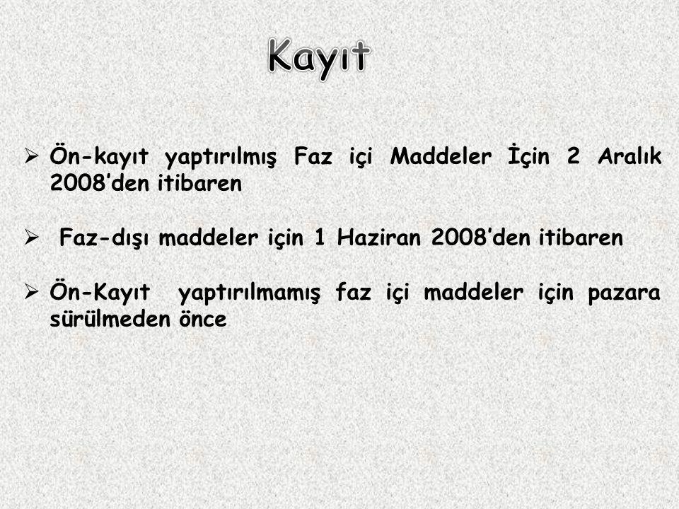  Ön-kayıt yaptırılmış Faz içi Maddeler İçin 2 Aralık 2008'den itibaren  Faz-dışı maddeler için 1 Haziran 2008'den itibaren  Ön-Kayıt yaptırılmamış