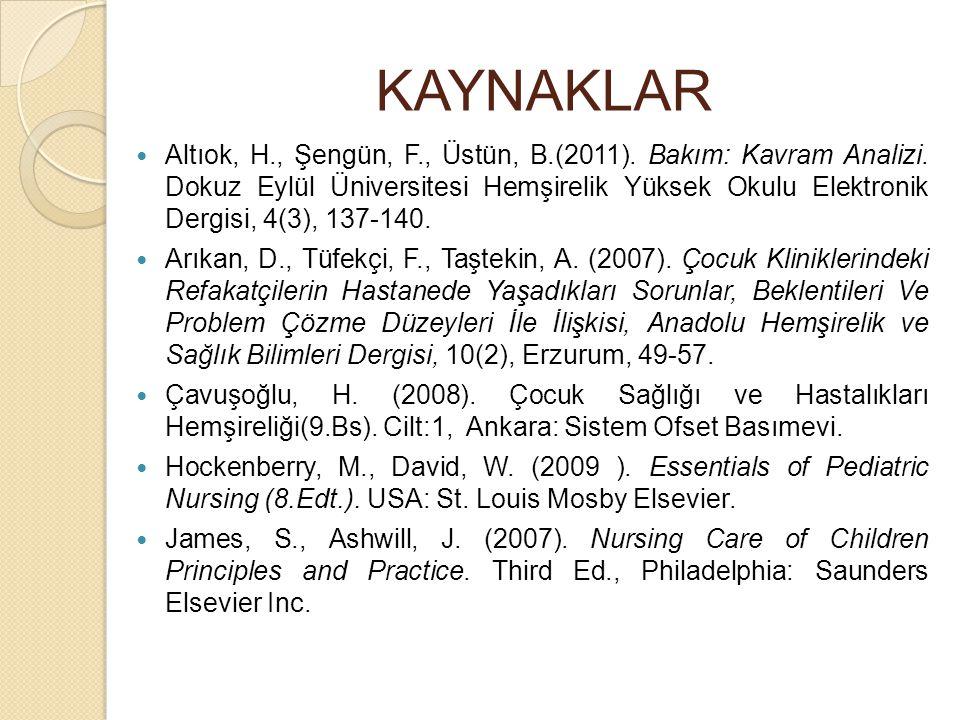 KAYNAKLAR Altıok, H., Şengün, F., Üstün, B.(2011). Bakım: Kavram Analizi. Dokuz Eylül Üniversitesi Hemşirelik Yüksek Okulu Elektronik Dergisi, 4(3), 1