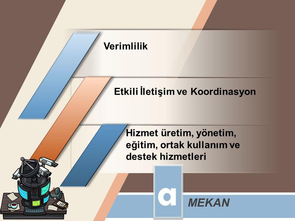 Verimlilik Etkili İletişim ve Koordinasyon Hizmet üretim, yönetim, eğitim, ortak kullanım ve destek hizmetleri MEKAN a a 10
