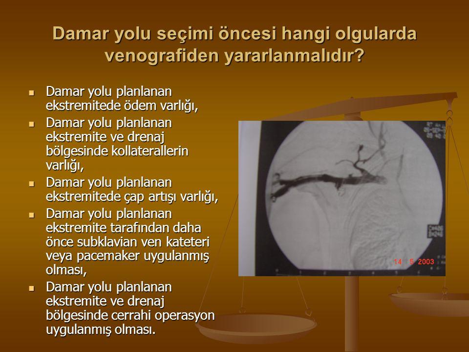 Damar yolu seçimi öncesi hangi olgularda arteriografiden yararlanmalıdır.