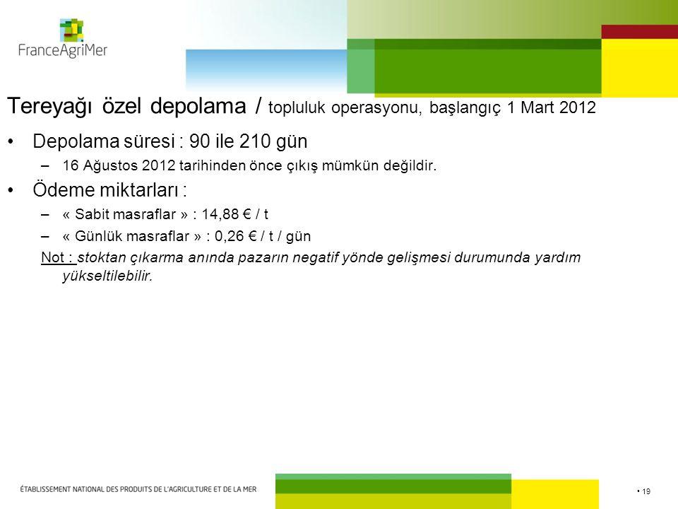 19 Tereyağı özel depolama / topluluk operasyonu, başlangıç 1 Mart 2012 Depolama süresi : 90 ile 210 gün –16 Ağustos 2012 tarihinden önce çıkış mümkün değildir.