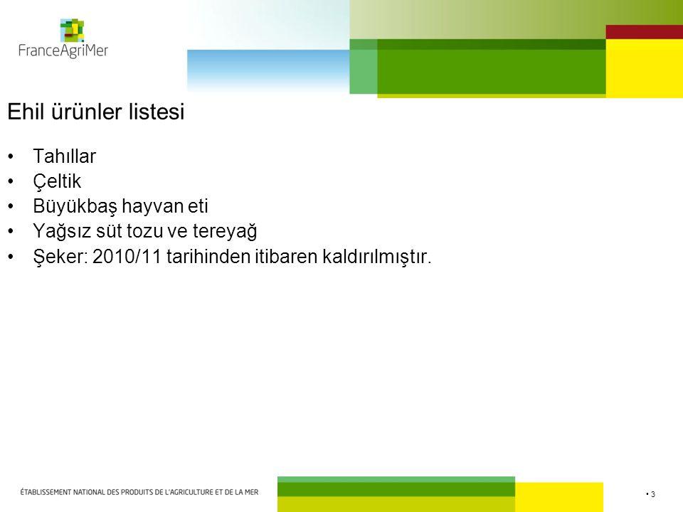3 Ehil ürünler listesi Tahıllar Çeltik Büyükbaş hayvan eti Yağsız süt tozu ve tereyağ Şeker: 2010/11 tarihinden itibaren kaldırılmıştır.