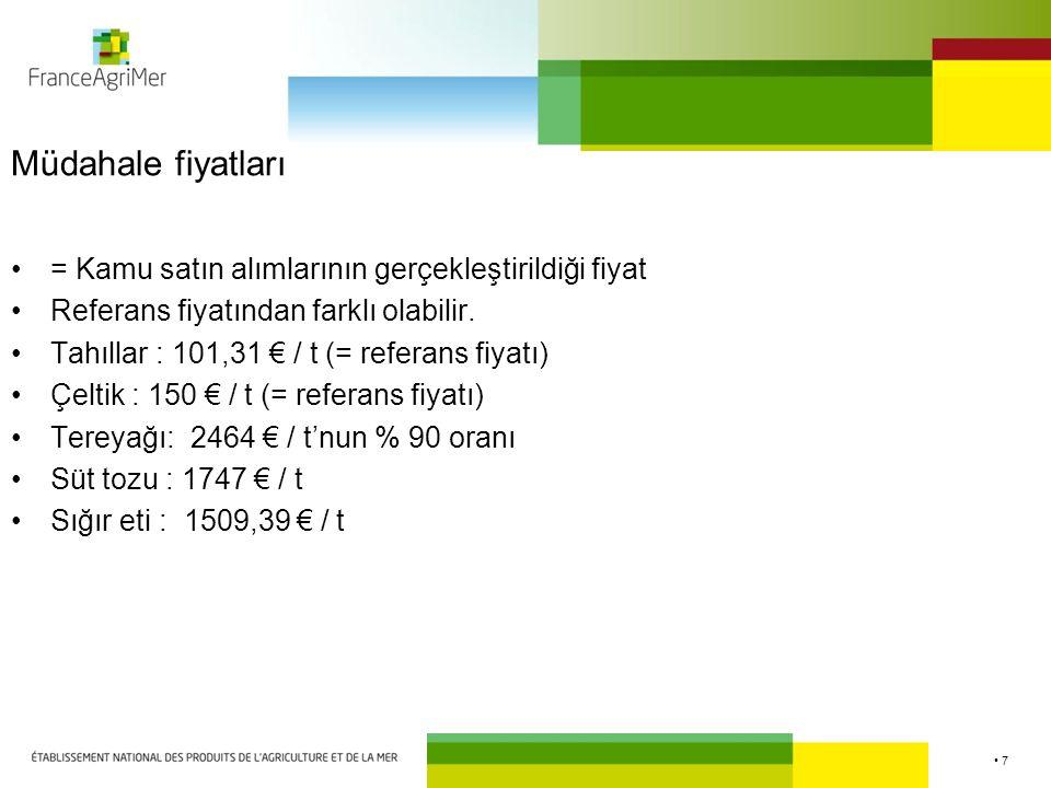 7 Müdahale fiyatları = Kamu satın alımlarının gerçekleştirildiği fiyat Referans fiyatından farklı olabilir. Tahıllar : 101,31 € / t (= referans fiyatı