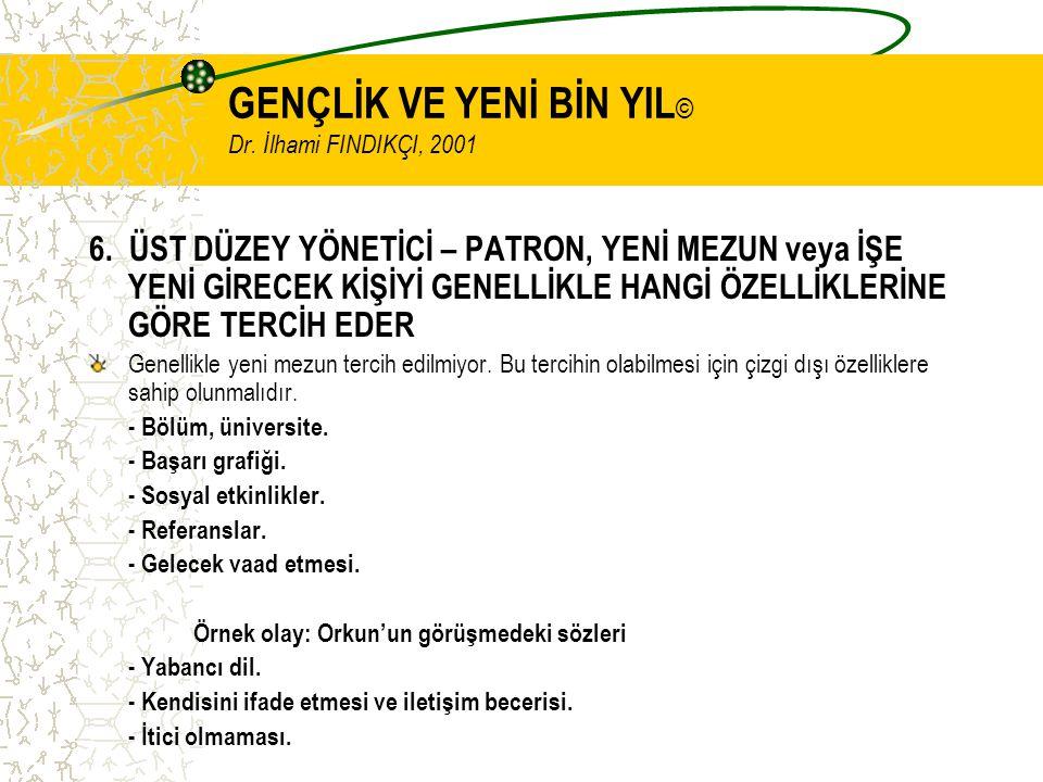 GENÇLİK VE YENİ BİN YIL © Dr. İlhami FINDIKÇI, 2001 6.