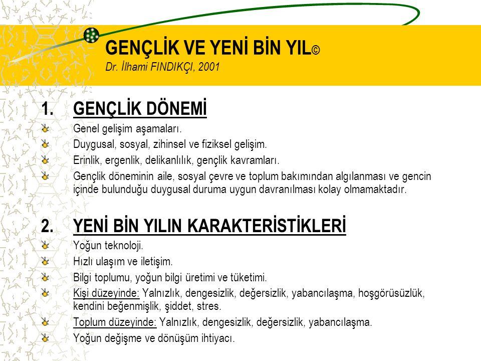 GENÇLİK VE YENİ BİN YIL © Dr. İlhami FINDIKÇI, 2001 1.GENÇLİK DÖNEMİ Genel gelişim aşamaları.
