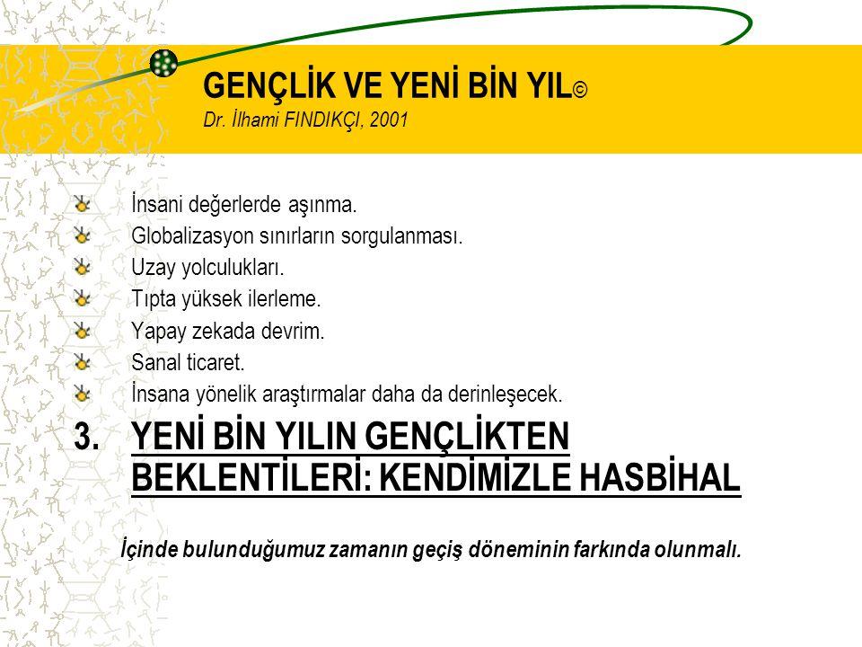 GENÇLİK VE YENİ BİN YIL © Dr. İlhami FINDIKÇI, 2001 İnsani değerlerde aşınma.