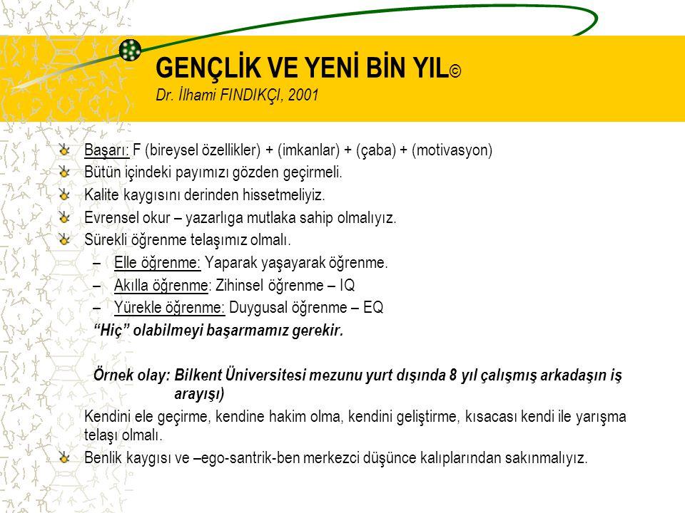 GENÇLİK VE YENİ BİN YIL © Dr. İlhami FINDIKÇI, 2001 Başarı: F (bireysel özellikler) + (imkanlar) + (çaba) + (motivasyon) Bütün içindeki payımızı gözde