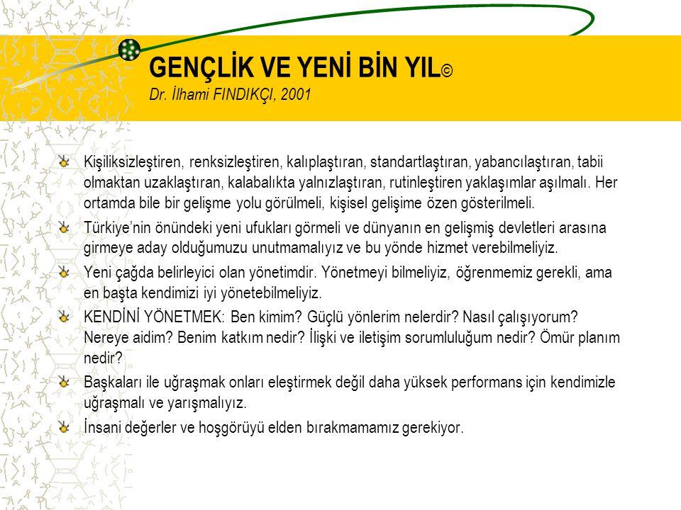 GENÇLİK VE YENİ BİN YIL © Dr. İlhami FINDIKÇI, 2001 Kişiliksizleştiren, renksizleştiren, kalıplaştıran, standartlaştıran, yabancılaştıran, tabii olmak