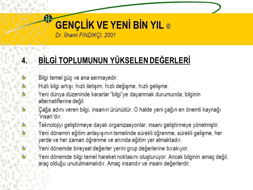 GENÇLİK VE YENİ BİN YIL © Dr. İlhami FINDIKÇI, 2001 4.BİLGİ TOPLUMUNUN YÜKSELEN DEĞERLERİ Bilgi temel güç ve ana sermayedir. Hızlı bilgi artışı, hızlı