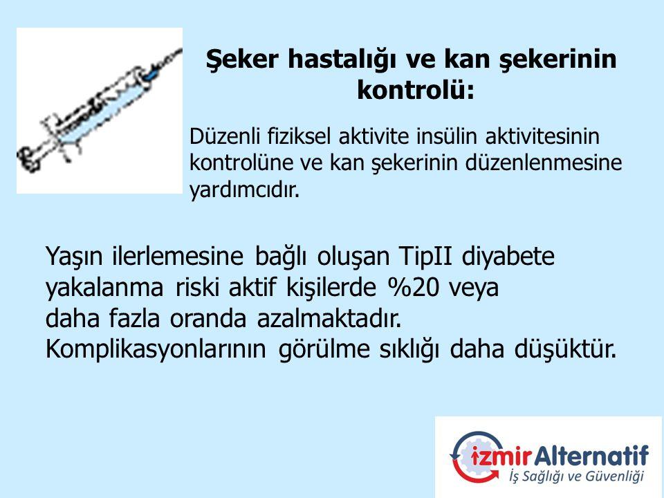 Yaşın ilerlemesine bağlı oluşan TipII diyabete yakalanma riski aktif kişilerde %20 veya daha fazla oranda azalmaktadır.