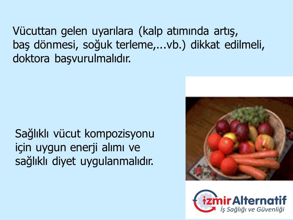 Sağlıklı vücut kompozisyonu için uygun enerji alımı ve sağlıklı diyet uygulanmalıdır.