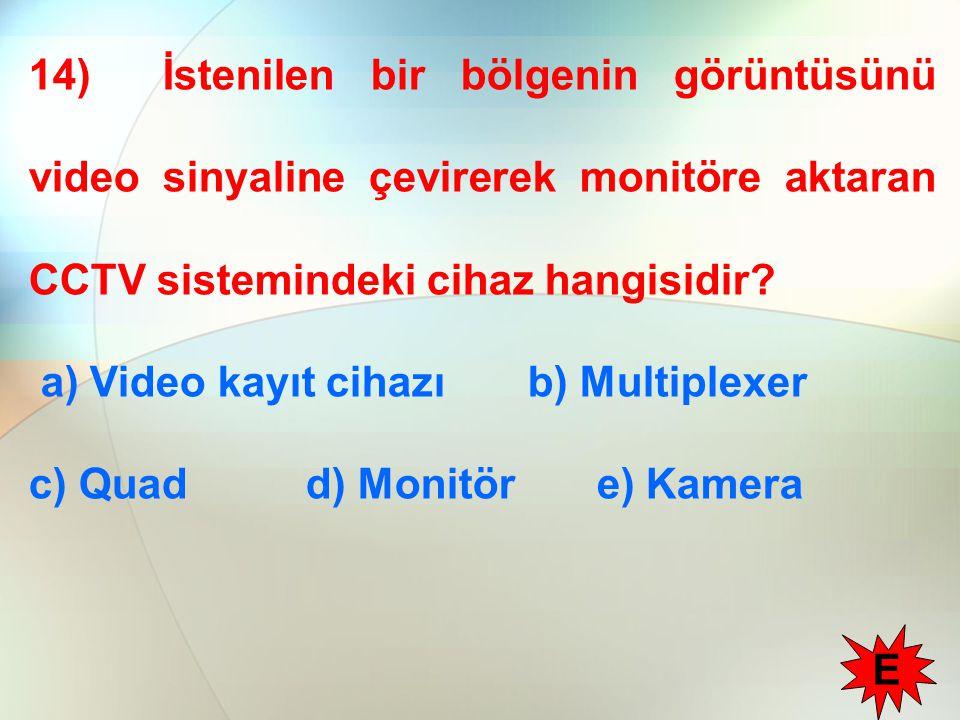 14) İstenilen bir bölgenin görüntüsünü video sinyaline çevirerek monitöre aktaran CCTV sistemindeki cihaz hangisidir? a) Video kayıt cihazı b) Multipl