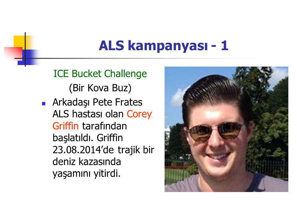 ALS kampanyası - 1 ICE Bucket Challenge (Bir Kova Buz) Arkadaşı Pete Frates ALS hastası olan Corey Griffin tarafından başlatıldı. Griffin 23.08.2014'd