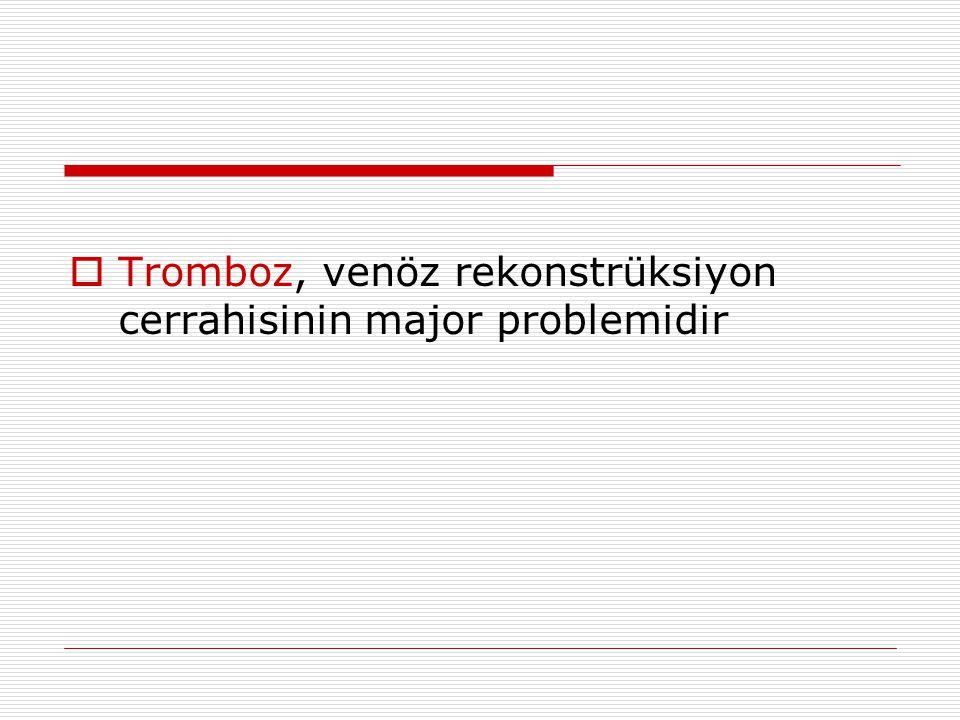  Tromboz, venöz rekonstrüksiyon cerrahisinin major problemidir