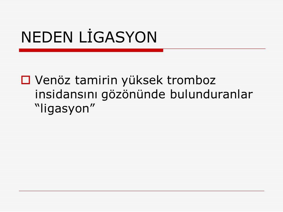 """NEDEN LİGASYON  Venöz tamirin yüksek tromboz insidansını gözönünde bulunduranlar """"ligasyon"""""""