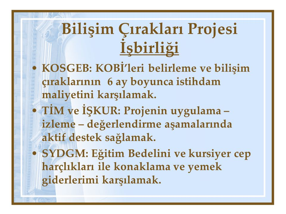 Bilişim Çırakları Projesi İşbirliği KOSGEB: KOBİ'leri belirleme ve bilişim çıraklarının 6 ay boyunca istihdam maliyetini karşılamak.