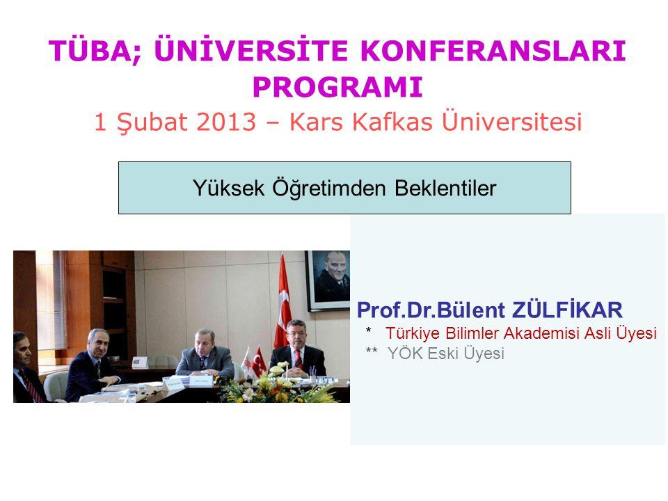 Prof.Dr.Bülent ZÜLFİKAR * Türkiye Bilimler Akademisi Asli Üyesi ** YÖK Eski Üyesi Yüksek Öğretimden Beklentiler TÜBA; ÜNİVERSİTE KONFERANSLARI PROGRAM