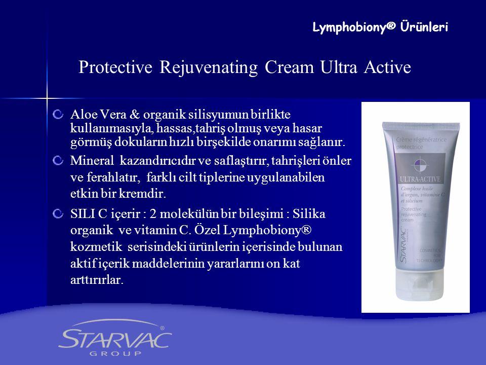 Protective Rejuvenating Cream Ultra Active Aloe Vera & organik silisyumun birlikte kullanımasıyla, hassas,tahriş olmuş veya hasar görmüş dokuların hız