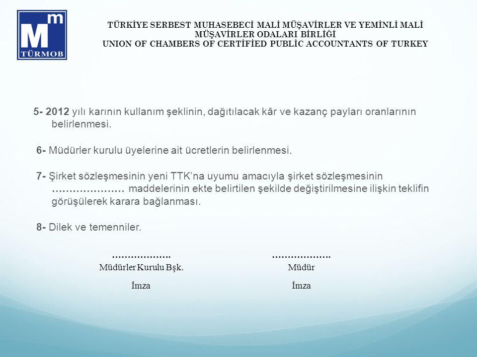 5- 2012 yılı karının kullanım şeklinin, dağıtılacak kâr ve kazanç payları oranlarının belirlenmesi. 6- Müdürler kurulu üyelerine ait ücretlerin belirl