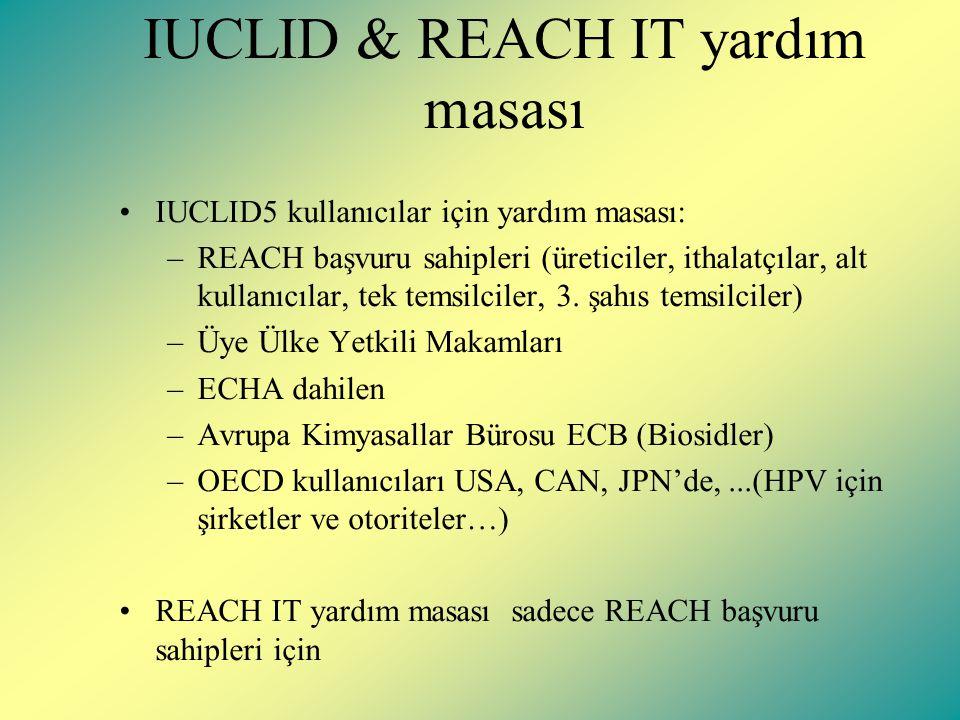 IUCLID & REACH IT yardım masası IUCLID5 kullanıcılar için yardım masası: –REACH başvuru sahipleri (üreticiler, ithalatçılar, alt kullanıcılar, tek temsilciler, 3.