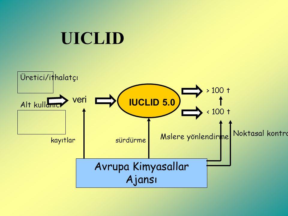 UICLID Avrupa Kimyasallar Ajansı IUCLID 5.0 Üretici/ithalatçı Alt kullanıcı veri kayıtlarsürdürme < 100 t > 100 t Mslere yönlendirme Noktasal kontroller