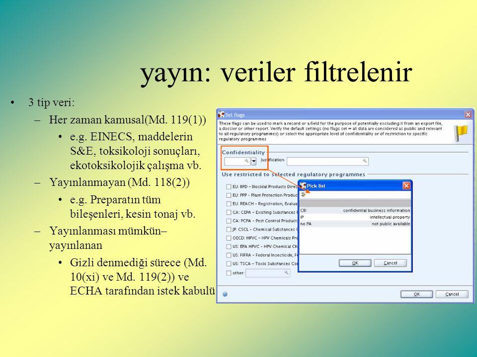 yayın: veriler filtrelenir 3 tip veri: –Her zaman kamusal(Md.