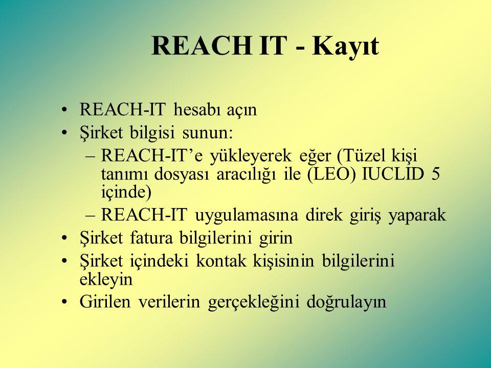REACH IT - Kayıt REACH-IT hesabı açın Şirket bilgisi sunun: –REACH-IT'e yükleyerek eğer (Tüzel kişi tanımı dosyası aracılığı ile (LEO) IUCLID 5 içinde) –REACH-IT uygulamasına direk giriş yaparak Şirket fatura bilgilerini girin Şirket içindeki kontak kişisinin bilgilerini ekleyin Girilen verilerin gerçekleğini doğrulayın