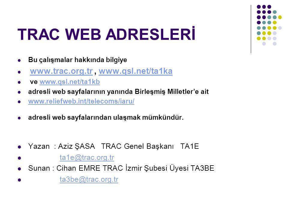 TRAC WEB ADRESLERİ Bu çalışmalar hakkında bilgiye www.trac.org.tr, www.qsl.net/ta1ka www.trac.org.trwww.qsl.net/ta1ka ve www.qsl.net/ta1kbwww.qsl.net/