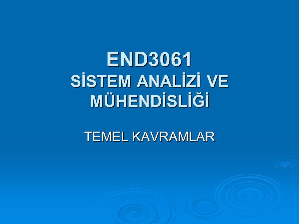 END3061 SİSTEM ANALİZİ VE MÜHENDİSLİĞİ TEMEL KAVRAMLAR