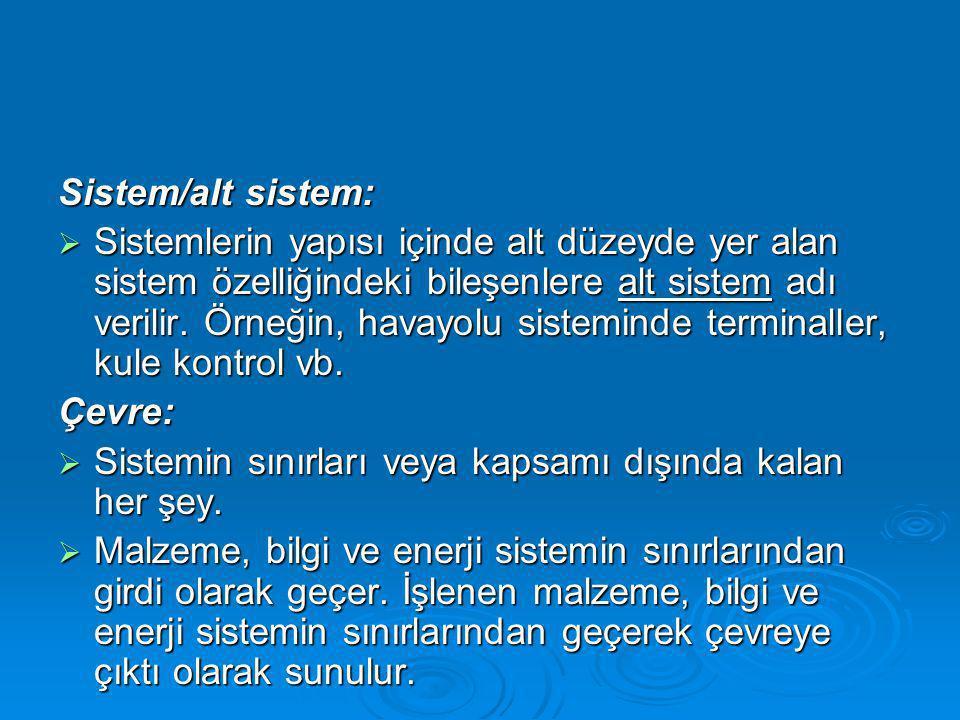 Sistem/alt sistem:  Sistemlerin yapısı içinde alt düzeyde yer alan sistem özelliğindeki bileşenlere alt sistem adı verilir.