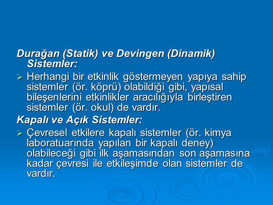 Durağan (Statik) ve Devingen (Dinamik) Sistemler:  Herhangi bir etkinlik göstermeyen yapıya sahip sistemler (ör.