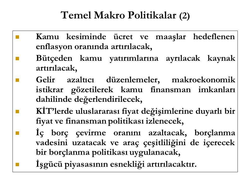 Temel Makro Politikalar (2) Kamu kesiminde ücret ve maaşlar hedeflenen enflasyon oranında artırılacak, Bütçeden kamu yatırımlarına ayrılacak kaynak ar