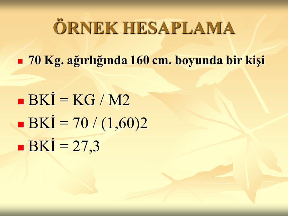 ÖRNEK HESAPLAMA 70 Kg. ağırlığında 160 cm. boyunda bir kişi 70 Kg. ağırlığında 160 cm. boyunda bir kişi BKİ = KG / M2 BKİ = KG / M2 BKİ = 70 / (1,60)2