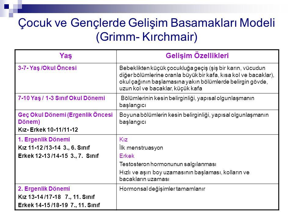 Çocuk ve Gençlerde Gelişim Basamakları Modeli (Grimm- Kırchmair) YaşGelişim Özellikleri 3-7- Yaş /Okul ÖncesiBebeklikten küçük çocukluğa geçiş (şiş bi