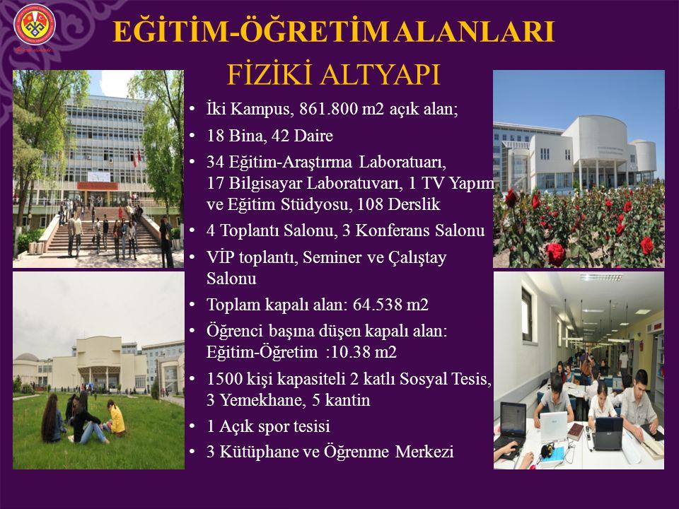 EĞİTİM-ÖĞRETİM ALANLARI FİZİKİ ALTYAPI İki Kampus, 861.800 m2 açık alan; 18 Bina, 42 Daire 34 Eğitim-Araştırma Laboratuarı, 17 Bilgisayar Laboratuvarı