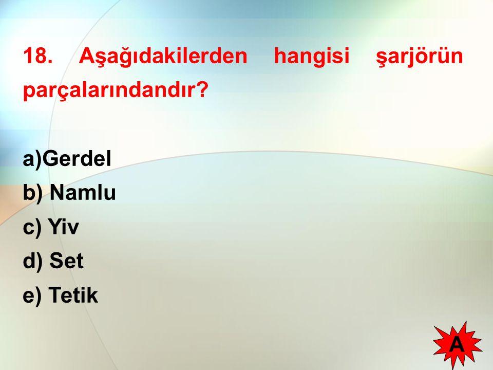 18. Aşağıdakilerden hangisi şarjörün parçalarındandır? a)Gerdel b) Namlu c) Yiv d) Set e) Tetik A