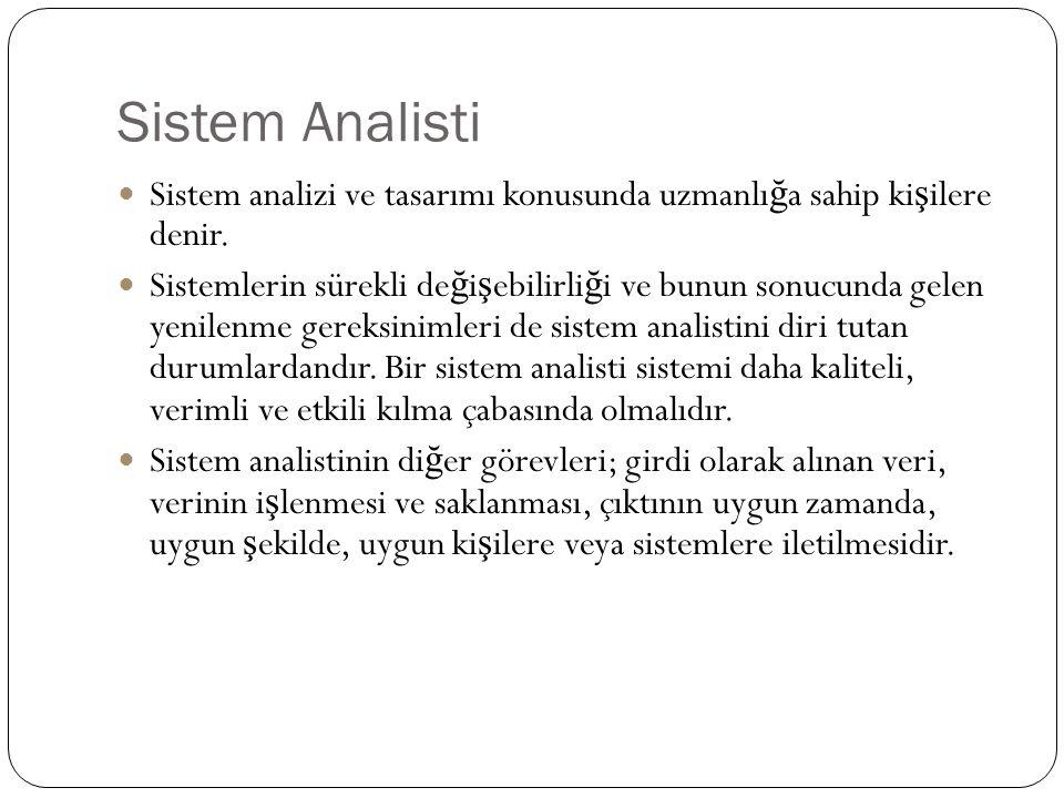Sistem Analisti Sistem analizi ve tasarımı konusunda uzmanlı ğ a sahip ki ş ilere denir.