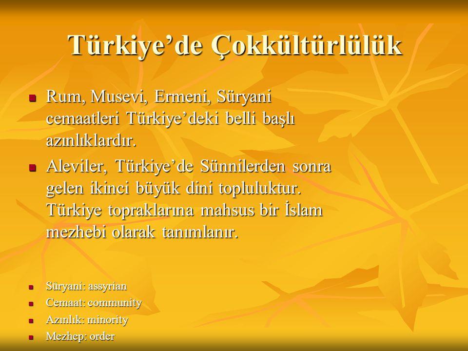 Türkiye'de Çokkültürlülük Rum, Musevi, Ermeni, Süryani cemaatleri Türkiye'deki belli başlı azınlıklardır.