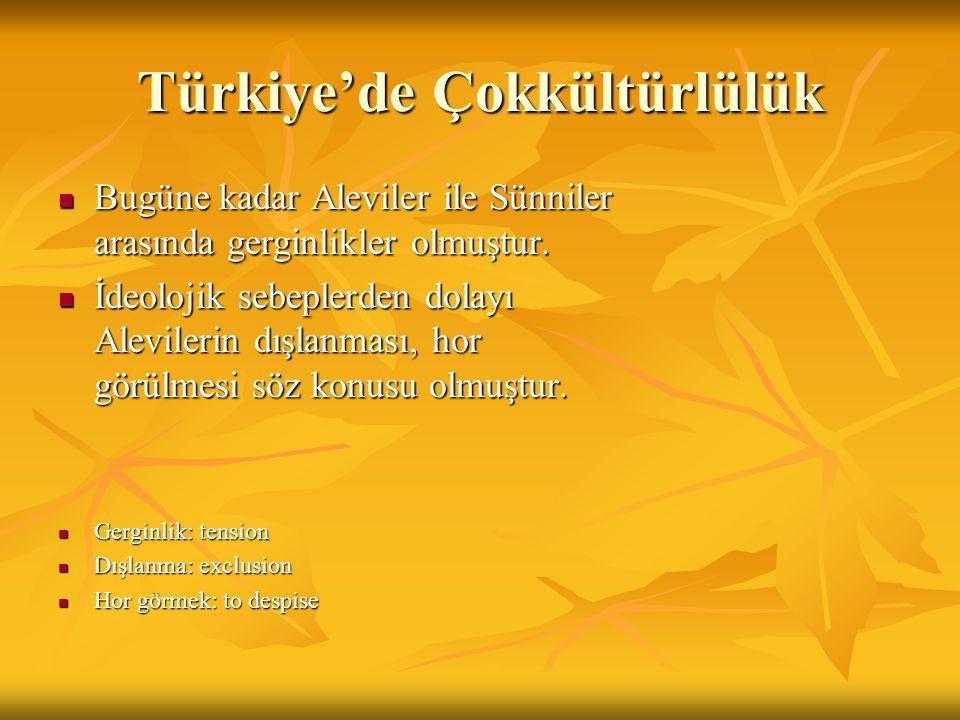 Türkiye'de Çokkültürlülük Bugüne kadar Aleviler ile Sünniler arasında gerginlikler olmuştur.