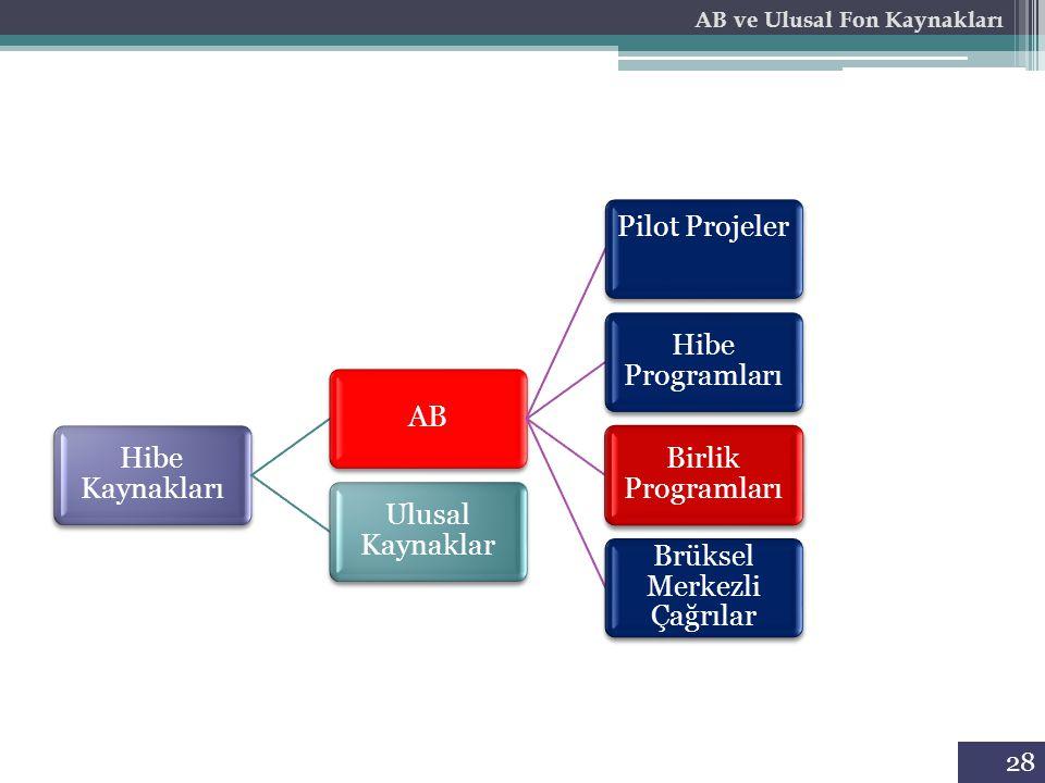 28 Hibe Kaynakları AB Pilot Projeler Hibe Programları Birlik Programları Brüksel Merkezli Çağrılar Ulusal Kaynaklar