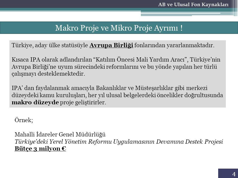 """4 Makro Proje ve Mikro Proje Ayrımı ! Türkiye, aday ülke statüsüyle Avrupa Birliği fonlarından yararlanmaktadır. Kısaca IPA olarak adlandırılan """"Katıl"""