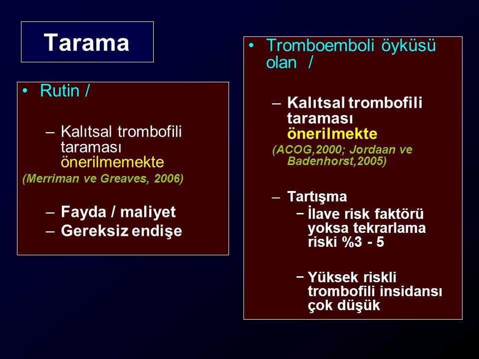 Tarama Rutin / –Kalıtsal trombofili taraması önerilmemekte (Merriman ve Greaves, 2006) –Fayda / maliyet –Gereksiz endişe Tromboemboli öyküsü olan / –K