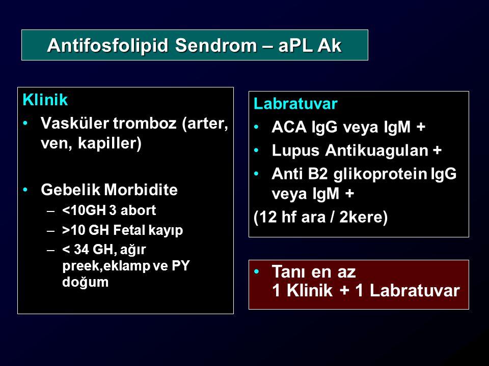 Klinik Vasküler tromboz (arter, ven, kapiller) Gebelik Morbidite –<10GH 3 abort –>10 GH Fetal kayıp –< 34 GH, ağır preek,eklamp ve PY doğum Labratuvar ACA IgG veya IgM + Lupus Antikuagulan + Anti B2 glikoprotein IgG veya IgM + (12 hf ara / 2kere) Tanı en az 1 Klinik + 1 Labratuvar Antifosfolipid Sendrom – aPL Ak
